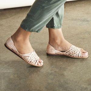 NIB Nisolo Topanga peeptoe sandal - natural suela